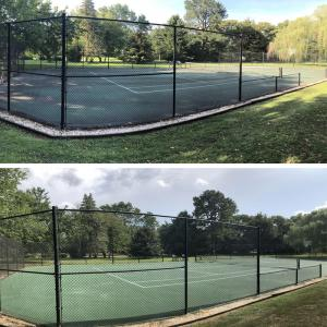 Tennis court before and after