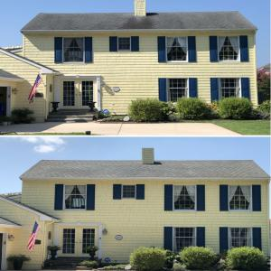 Yellow house before and after